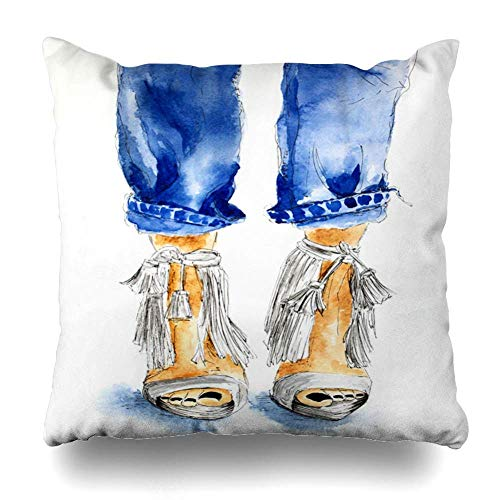 Trsdshorts Throw Pillows Covers Denim Blue Jeans White Shoes High Heels Outfit Cushion Case Pillowcase Home Sofa Couch Square Size 18 x 18 Inches Pillowslips
