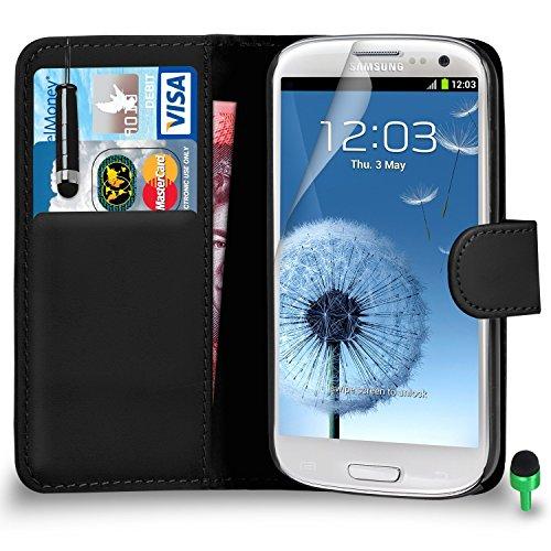 POUR Samsung Galaxy S3 - SHUKAN® Prime Cuir NOIR Portefeuille Cas Coque Couverture avec Mini Toucher Style Stylo VERT Cap Protecteur d'écran & Tissu de polissage