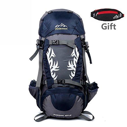 zaino viaggio 50l, RUVALINO Outdoor Escursionismo Zaino Nylon Impermeabile con Parapioggia Montagna Campeggio Alpinismo Viaggio per Donna e Uomo