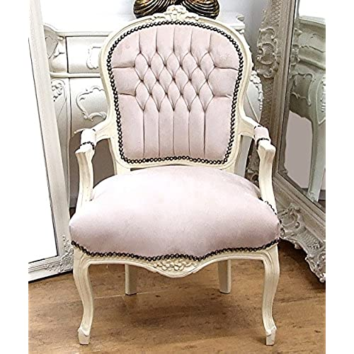Vintage Retro French Louis XV Style Chair with Cream Fabric Upholstery and  Cream Carved Wood Frame - Vintage Chairs For Bedroom: Amazon.co.uk