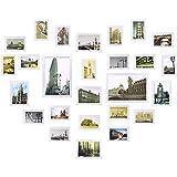 Yorbay- Conjunto de marcos para 26 fotos montado en la pared, Madera, Blanco, 45 x 33,8 x 21,8 cm