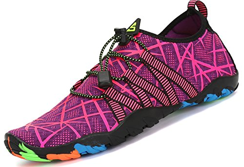 Zapatos de Agua para Buceo Snorkel Surf Piscina Playa Vela Mar Río Aqua Cycling Deportes Acuáticos Calzado de Natación Escarpines para Mujer,Morado 40