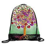 GONIESA Tree of Life Colorful Magic Love Tree with Blossomed Heart And Round Leaves And Roots Life Decorative Multi Drawstring Bags Running Backpack Sport Bag for Men & Women
