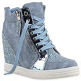 Stiefelparadies Damen Sneaker-Wedges Sneakers Pailletten Sport Keilabsatz Zipper Ketten Schnürer High Top Wedge Sneaker Schuhe 129116 Hellblau 40 Flandell