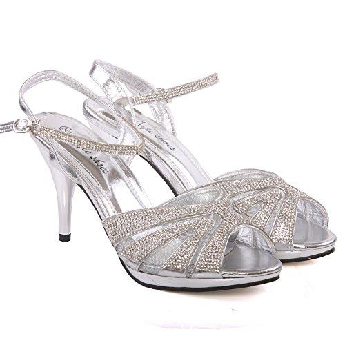 Unze Womens 'Marietta' Stiletto scarpe decorate da sposa Regno Unito Dimensione 3-8 Argento