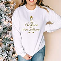 My First Christmas as Mrs Jumper Sweatshirt Sweater Gift Engagement Personalised White Gold