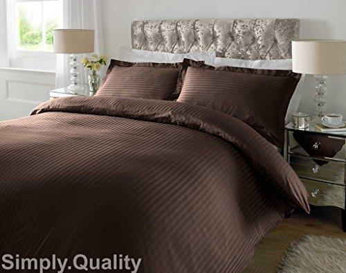Sunshine Komfort Luxus 100% Streifen TC200Ägyptische Baumwolle Bettbezug Kissen Superking: Schokolade -
