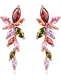 Yellow Chimes Designer Swiss Cubic Zircon Rose Gold Plated Dangling Earrings for Women and Girls