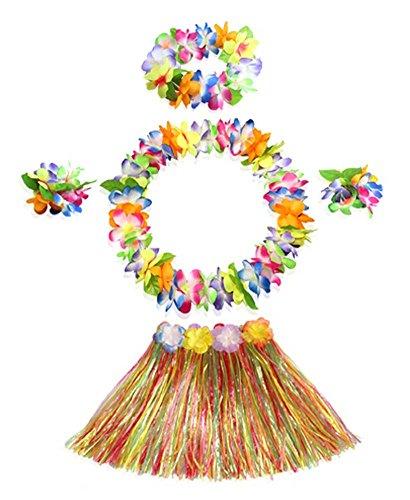 Blancho Kinder Einzigartige Hawaiian Kleid Hula-Tanz-Gras-Rock-Kostüm-Set