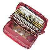 Damen Leder Geldbörse, Brenice RFID Rindleder Reißverschluss Lange Brieftaschen Große Kapazität 11 Kartenhalter Geldbörse für Frauen Rot