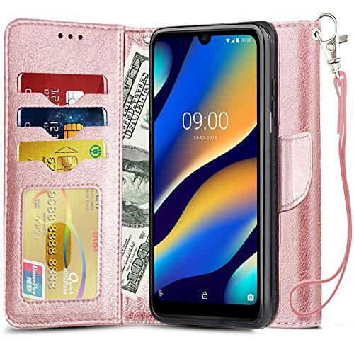 qhohq cover per wiko view 3 lite,custodia pieghevole portafoglio magnetica custodia in pu pelle supporto stand slot chiusura cover per wiko view 3 lite (oro rosa)