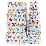 Markenlos Aufbewahrungsboxen/Schachteln im 10er Set mit Deckel Verschiedene Designs (Geschenkbox Bunte Sterne)