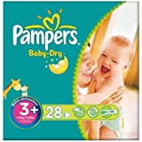 Pampers Baby Dry Größe 3 + (5-10kg) Carry-Pack Midi Plus-6x28 pro Packung