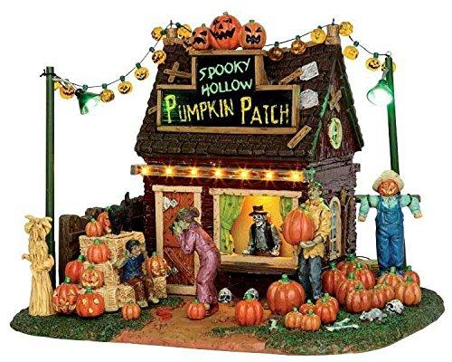 Lemax - Spooky Hollow Pumpkin Patch - Kürbisbeet - 20,30cmx16cmx16,50cm - Beleuchtetes Gebäude - Batteriebetrieben - Porzellan - Halloween Village - Spooky Town - Dorf
