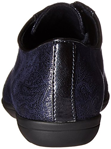 Soft Style by Hush Puppies Valda Femmes étroit Simili daim Oxford Navy Paisley Faux Suede/Pearlized Patent