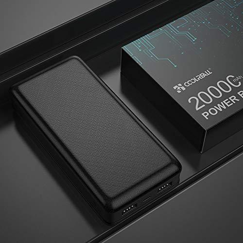 CoolReall Powerbank 20000mAh, Die Hohe Kapazität Power Bank mit LED-Statusanzeige, New Dual Ports Externer Akku Kompatibel mit iPhone, iPad, Huawei,Samsung und Weitere Smartphones (Schwarz)