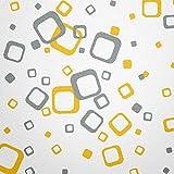 WANDfee® Wandtattoo 60 Vierecke FARBWUNSCH Farbe gelb grau zweifarbig Bunte Moderne Wanddeko Selbstklebende Retro Cubes Quadrate Wandaufkleber Wandsticker Fliesenaufkleber Dekoration Deko Aufkleber