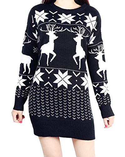 Vogue of Eden Women's Oversized Christmas Deer and Maple Leaves Knitted Sweater Black (Cable Black Cashmere Knit)