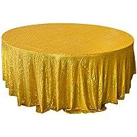 Fuloon Mantel Dorado de Lentejuelas para Bodas Fiestas Cumpleaños - 120