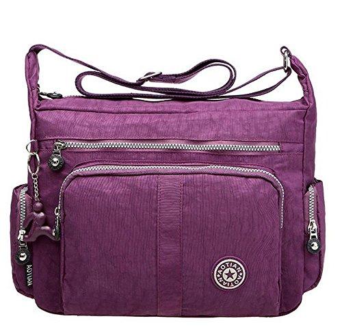 Resistente all' acqua con leggero nylon borsa a tracolla 8203 Black Violet