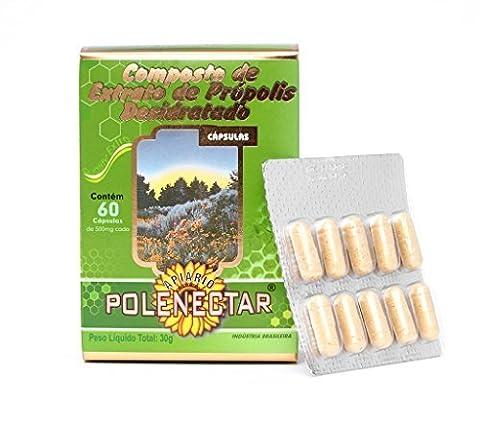 Bee Propolis - Green Brazilian Propolis Capsules (500 mg) by Polenectar - 4 X 60 capsules