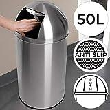 Push Mülleimer - mit 50 Litern Volumen, Maße ∅/H: 35/75 cm, Edelstahl, Silber - Abfalleimer, Abfallsammler, Treteimer, Müllbehälter, Druckdeckel, Abfallbehälter