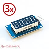 AZDelivery 4Bits digital Tubo LED Pantalla Módulo con Clock Display I2C para Arduino y Raspberry Pi, 3x Display