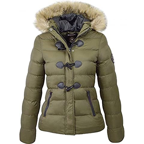 Womens Ladies Brave Soul Designer Faux Fur Hooded Short Jacket Quilted Puffer Padded Coat UK 10 / Small