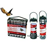 3 Hanging Bird Feeders Fatball Holder Suet Cage Wild Bird Seed Feeder Garden Nuts