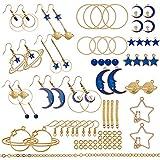SUNNYCLUE 1 Caja de Bricolaje 10 Pares de Abalorios esmaltados para Hacer Joyas, Juego de iniciación de aretes con diseño de Gato y Luna, Estrella, Planeta, Largo y Colgante, para Principiantes