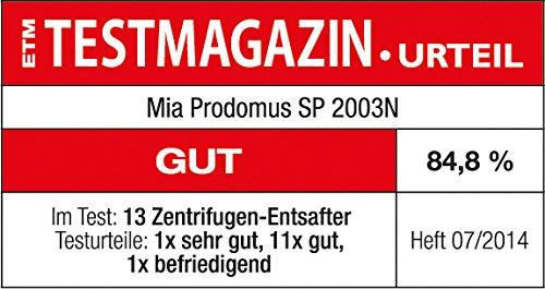 Mia SP2003N Centrifugeuse en acier inoxydable pour fruits entiers
