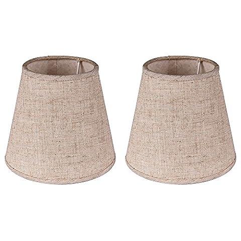 Eastlion 2 Einfache moderne manuelle Stoff Lampenschirm für Kristallkerze Kronleuchter, Wand-Lampe, Mini-Tischlampe mit Wellen Brim E14 Lampenhalter Lampenschirm 9x15.5x14cm (Kronleuchter Mit Lampenschirm)