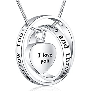 Ado Glo ❄Christmas Giftsx2744 I Love You Through and Through Urn Locket Pendant Necklace Cremation Jewelry for Ashes - Birthday Memorial Present for Women Girls - Xmas Last-Minute Deals