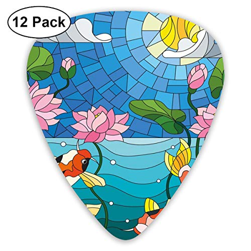 Stained Glass Fish (Celluloid Guitar Picks - 12 Pack,Abstract Art Colorful Designs,Stained Glass With Asian Details Mosaic Lotus Flowers Sun Fish Oriental Work,For Bass Electric & Acoustic Guitars.)