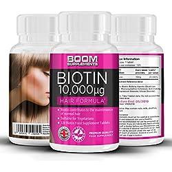 Biotina 10000 mcg | Vitamina para el crecimiento capilar | 120 comprimidos | Dosis para 4 meses COMPLETOS | Seguro y efectivo