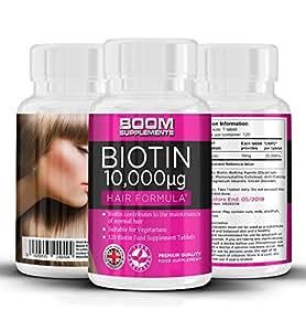 Biotina Capelli 10000mcg   Integratore Biotina Per Capelli 10,000mcg   Integratore Per Capelli Sani   Forti, Voluminosi Crescita RAPIDA   120 Compresse Per 4 Mesi Di Trattamento   Sicuro efficace