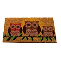 Garden Mile® Large Novelty Printed Hooters Owl Welcome Mat Natural Coir Absorbent Entrance Doormat Vinyl Backed & Anti-Slip Rubber Floor Mat (hooters owl)
