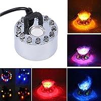 Gugutogo 12 LED de luz Colorida generador de Niebla ultrasónico Fogger purificar la Fuente de Agua Estanque Interior Exterior 1A / 24V ABS fácil de operar (Color: Plateado y Negro)