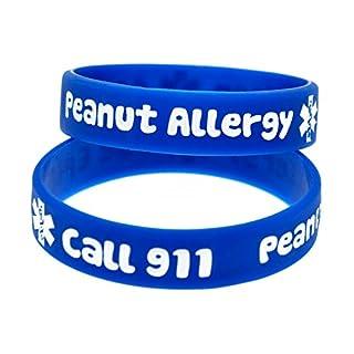Sunling 2 4 Pack Kids Friendly Food Peanut Allergy Awareness Medical Alert Bracelet for Children Silicone Emergency Wristband,15cm-Wonderful Life Saver