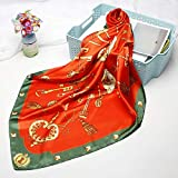 MAOSITIAN+AScarf Fashion Shawl Hijab Scarf for Women Print Silk Satin Scarfs Female Headband 90 * 90Cm Square Neckerchief Shawls Scarves for Ladies