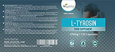 L-Tyrosine | 120 Capsules, 1410mg per Daily Dose | Highly Dosed Amino Acid | Improve Athletic Performance and Enhance Mood with L Tyrosine | 100% VEGAN by Vegavero