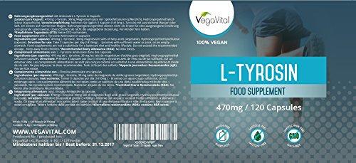 L-Tyrosin Hochdosiert Vegavero | 120 Kapseln | aus pflanzlicher Fermentation | 99,6% Rein | 4 Monatskur | Vegan und OHNE Zusatzstoffe