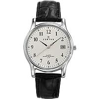 Certus Cer-610590 - Reloj para caballero de cuero plateado de Certus