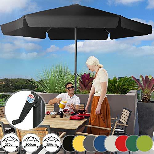 Miadomodo Parasol Hexagonal - Protection UV 30+, Polyester, Manivelle, Tailles (Ø 2,5/3/3,5 m) et Couleurs au Choix - Parasol de Jardin, Terrasse, Balcon (Ø 2,5 m, Noir)