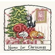 Kit de punto de cruz, diseño de casa para Navidad, tela Aida de 14