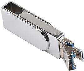 Altsommer Drehen USB 3.0 4/8/16/32/64/128GB Mini USB Stick,Dual Use U Disk 80MB /S Drive USB 3.0 Memory Stick USB,Metall Flash Memory Speicher Stick Speicher Daumen U Disk Silver