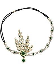 3fdbeeb702b224 Babeyond® 1920s Stil Blatt-Medaillon Rundes Stirnband mit Perlen Inspiriert  von Der Große Gatsby Accessoires für.