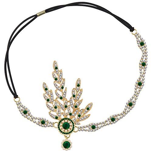 BABEYOND 1920s Stil Blatt-Medaillon Rundes Stirnband mit Perlen Inspiriert von Der Große Gatsby Accessoires für Damen (Grün)