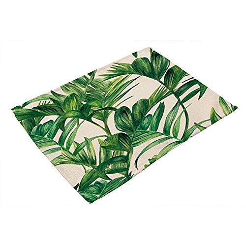 UHUA Leinen Tischsets grün Leaf rutschfest waschbar Rechteck Platzset Tisch-Sets