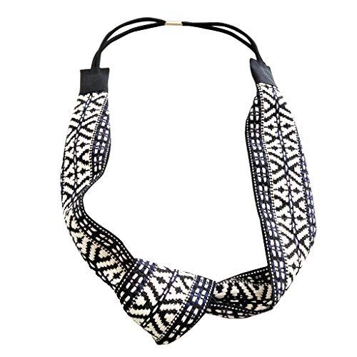 TOPGKD Ins heißer Verkauf Frauen ethnische Webart Stirnband kurzes Haar Kopfschmuck Zusätze (Schwarz)